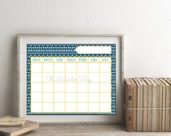 printable calendar monthly calendar template schedule planner dry erase calendar blue and yellow tribal design