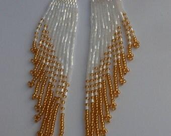 Beaded earrings Extra long earrings Black earrings Boho earrings Fringe earrings Beadwork jewelry Jewelry earrings Weaving beads Earrings