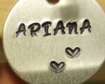 Personalized, Hand Stamped Metal Charm - Custom Made to Order