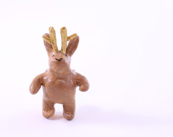 Whimsical Jackalope Pin Brooch in Tan and Gold: A Modern Animal Totem Great For Mothers Day, Cryptozoologist or Girlfriend Gift Under 40