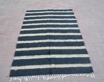 Black and White Rug, Floor Rug, Tribe Rug, Wool Rug, Woven Rug