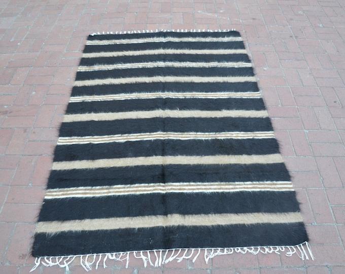 CHRISTMAS SALE %7 Black and White Rug/Ethnic Turkish Rug/Tribal Bohemian Rug/Tribal Rug/Antique Boho Rug/Turkish Vintage Rug