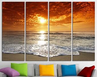 Sunset Beach Wall Art Tropical Print Ocean View Beach Canvas