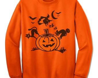 Fun Halloween Sweatshirt. Pumpkin Witch Black Cat Sweatshirt.