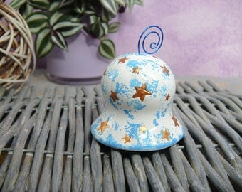Campanella white and blue with stars-White and light blue bell with little stars