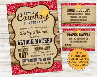 Cowboy Baby Shower Invite Invitation Bundle 5x7 Digital Sprinkle Western Country Personalized