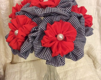Red, White and Blue Fabric Flower Bouquet