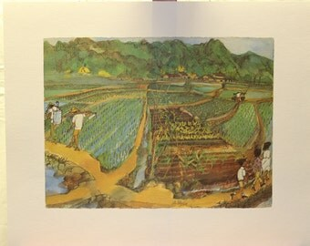 Franklin McMahon's Limited Edition Lithograph of Taiwan  1960's print  16 x 20  unframed  vintage office  home  interior design  oriental