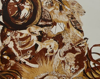 Mammalian Mountain, reduction woodcut, edition of 3