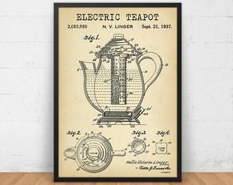 Electric Tea Pot Patent Print, 4 COLORS Printable, Tea Poster Kitchen Wall Art Tea Lover Gallery Wall Vintage Teapot Kitchen Decor Tea Print