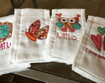 Personalized Burp Cloths, Set of four