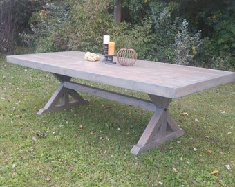 Farm House Table, Farm Table, Trestle Table, Large Farm House Table, Gray Farm House Table
