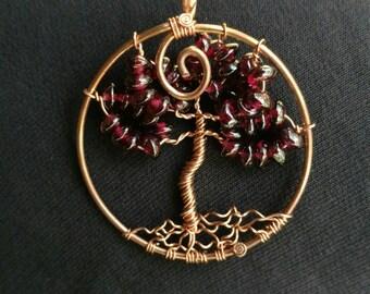 Garnet Copper Tree of Life Pendant