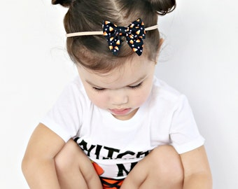 Candy corn sailor bow, nylon or alligator clip, halloween bow, traditional bow on clip, fall color hair bow, candy corn clip