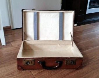 Real VULKANFIBRE-Fibre suitcase-type Favorit-Vintage 1920 's-All original-100% authentic
