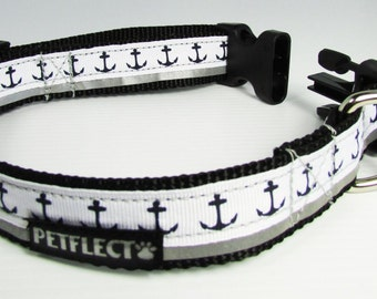 Anchors Away Reflective Dog Collar