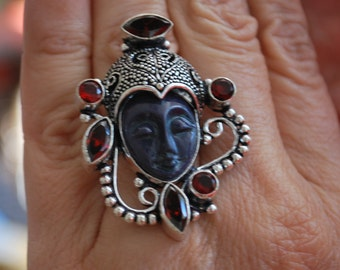 Goddess Jasper Carved Face Ring with Garnets-Size 7.75