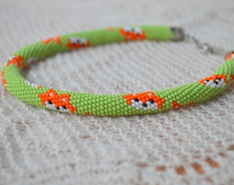 Kids Bead Crochet Necklace rope   beaded  jewelry  for children fox orange made to order