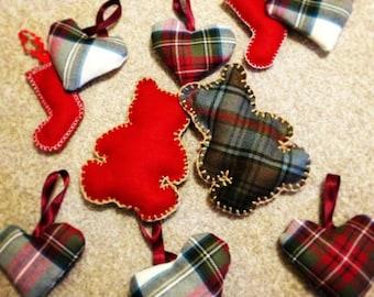 3 shaped tartan and felt Christmas decorations