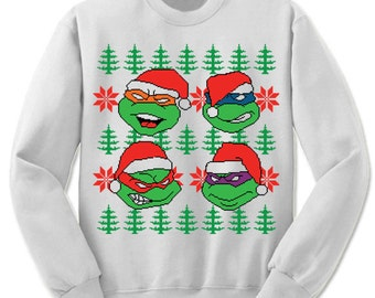 Mickey Leo Raph Donnie Ugly Sweater. Merry Christmas. Christmas Sweatshirt. Ninja. TMNT Ugly Christmas Sweater. Party.