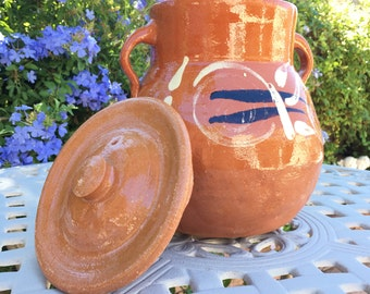 Traditional Mexican Handmade Clay Bean Pot And Lid