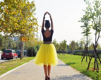 Yellow Tulle Skirt, Adult Tutu, Women Tulle Skirt, Adult Tulle Skirt, Engagment Tulle Skirt, Bridemaid Skirt, Knee Skirt, Ballet Tulle Skirt