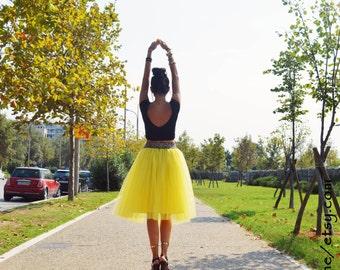 Yellow Tulle Skirt Adult Tutu Women Engagment