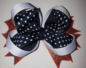 3 in. Black Polka Dot and Orange Halloween Bow