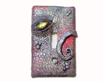 Decorative Switch Plate Cover - Silver Dragon Eye Light Switch - Polymer Clay Switch Plate Cover - Boys Room- Man Cave
