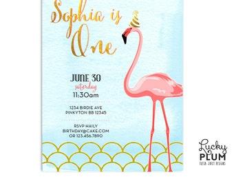 Flamingo Birthday Invitation / Pool Party Birthday Invitation / First Birthday Invitation / Bird Invitation