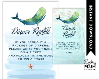 Whale Diaper Raffle / Nautical Diaper Raffle / Ocean Diaper Raffle / Starfish Diaper Raffle / Octopus Diaper Raffle / DIY Printable WH02