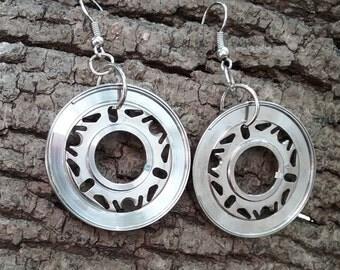 Recycled jewelry hoop earrings