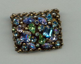 Colorful 1950's Brooch Signed Barclay
