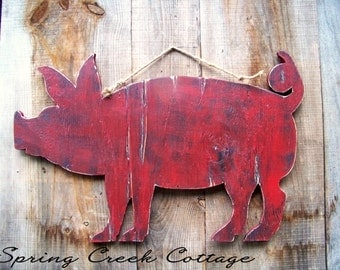 Rustic Pig Sign, Handcrafted, Pomegranate Red And Black, Pig Silhouette, Farm Decor, Made To Order!