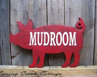 Wood Signs, Mudroom, Handcrafted, Rustic, Pig Silhouette Sign, Farmhouse Decor, Farm, Country Decor