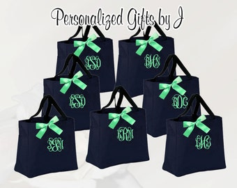 12 Personalized Bridesmaids Gift Tote Bags Monogrammed Tote, Bridesmaids Tote, Personalized Tote