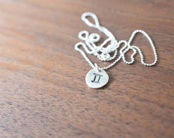 Gemini Necklace Zodiac Necklace - Gift for her June Birthday Gift Sterling Silver Gemini Pendant Small Gemini Simple Gemini Constellation