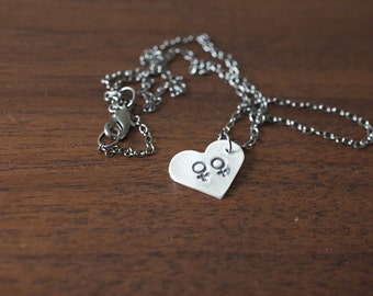 Equality Necklace, Female Female, Gay Marriage Necklace, Same Sex Marriage, Female Love Necklace, Equal Rights, Sterling Silver Hand Stamped