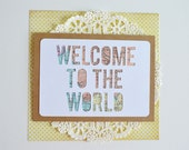 New Baby Card - Travel Theme Baby Shower Card - Baby Shower Card - Welcome to the World - Keepsake Card