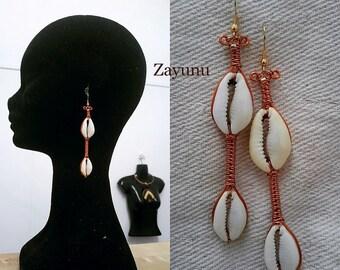 Double Cowrie shell drop earrings