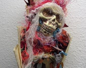 Hecate Goddess, Nature Spirit, Dia de los Muertos art doll. Santa Muerte , Kitchen Witch, Assemblage Art doll Shabby Chic,  Decor OOAK
