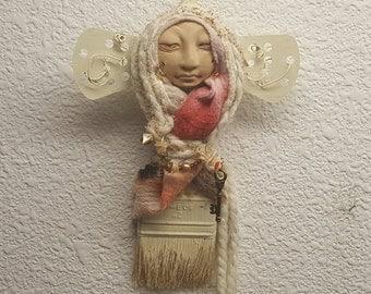 Zen Spirit of Creativity,  Shabby Chic Decor OOAK Art doll, paint brush doll, handcrafted doll, folk art