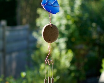 Wind Chime Copper Wrapped Sea Glass Natural Beach Stone Brass Chimes Suncatcher