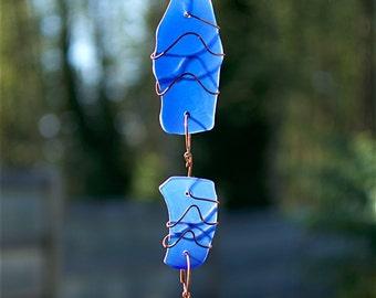Sun Catcher Blue Sea Glass with Copper Suncatcher