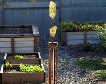 Wind Chime Beach Glass with Large Copper Chimes sea glass stained glass outdoor windchime