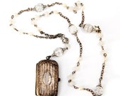 """Upcycled Antique Coin Holder Necklace """"Altered Heirlooms"""" Nouveau Motley Victorian Silver Filigree Frosted Czech Glass Pearls Crackle Quartz"""