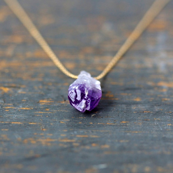 Raw Amethyst Necklace, Raw Stone, 14k Gold Filled Chain, February Birthstone, Rough Gemstone, Crystal Point Necklace, Boho Layering Jewelry