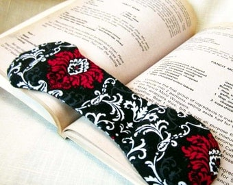 Damask Book Weight - Fuchsia, Black, White, Gray - victorian gothic page holder to hold book open, cookbook weight, paperweight, bookmark