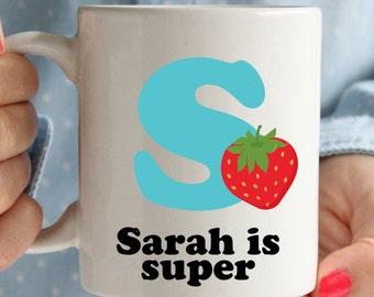 Personalised name mugs, initial mugs. Know your own mug, cute and retro feel