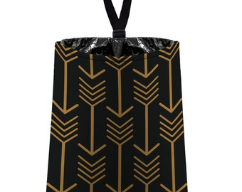 Car Trash Bag // Auto Trash Bag // Car Accessories // Car Litter Bag // Car Garbage Bag - Arrows -black and bronze dark tan // Car Organizer